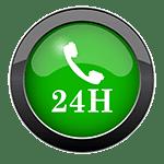 foto blog de un botón verde con un icono de auricular del teléfono y 24h debajo